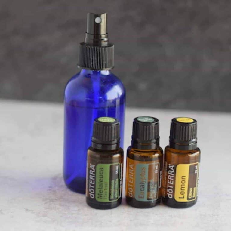 blue glass spray bottle with 3 essential oil bottles