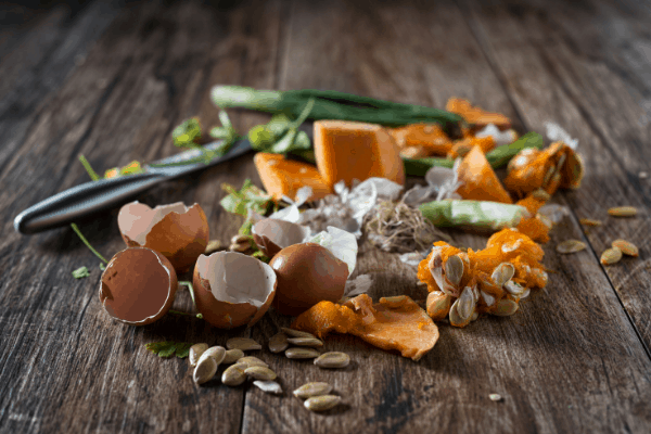 food scraps on wood table