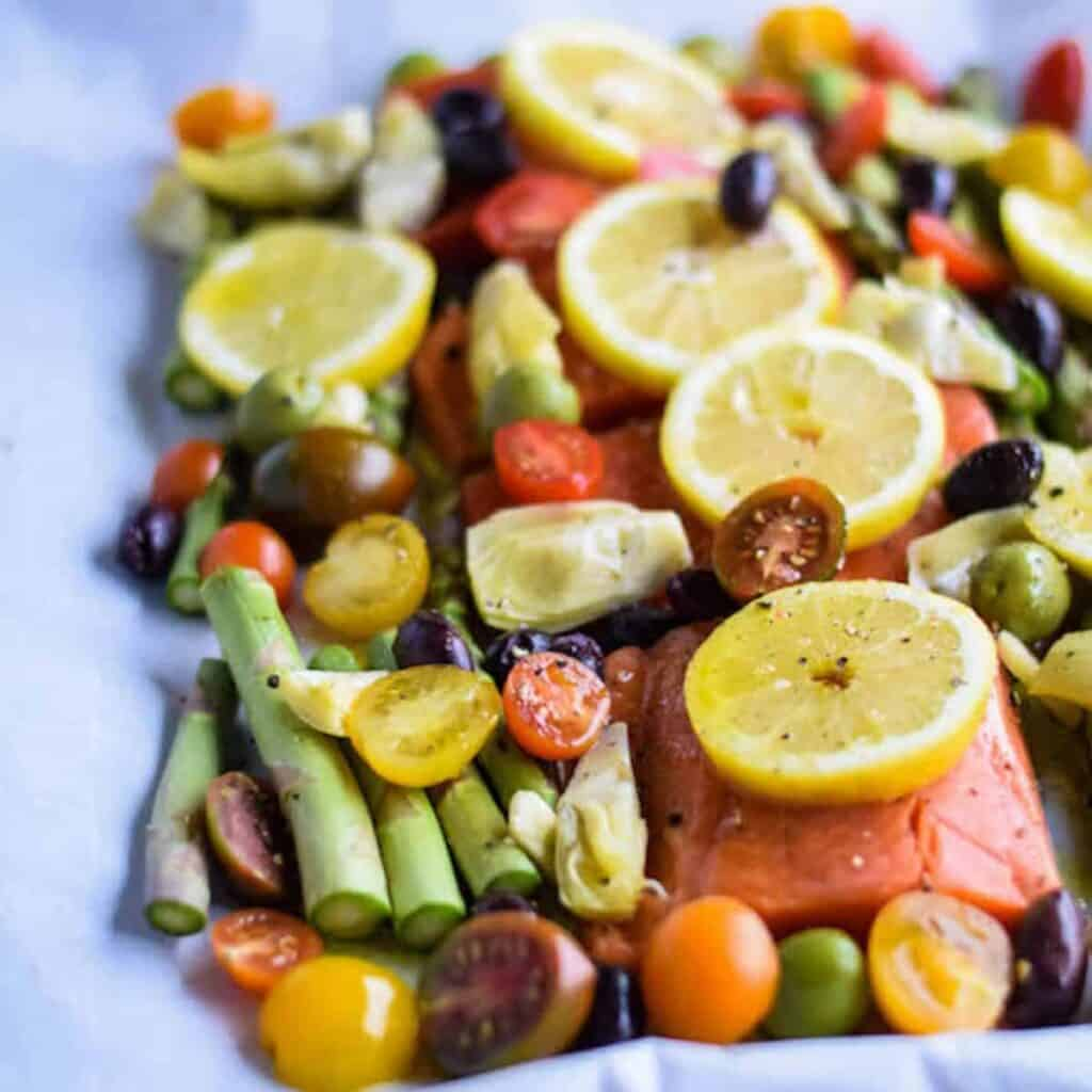 salmon and veggies on a sheet pan