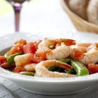 Fresh Summer Tomatoes and Peas with Shrimp