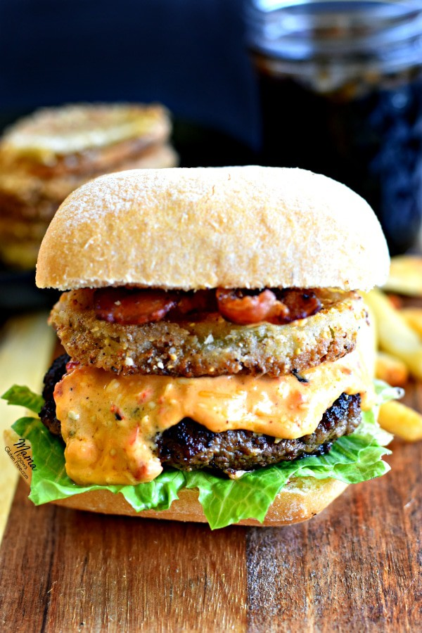 The Best Southern Style Burger with Bacon, Pimento Cheese and Fried Green Tomatoes {Gluten-Free}