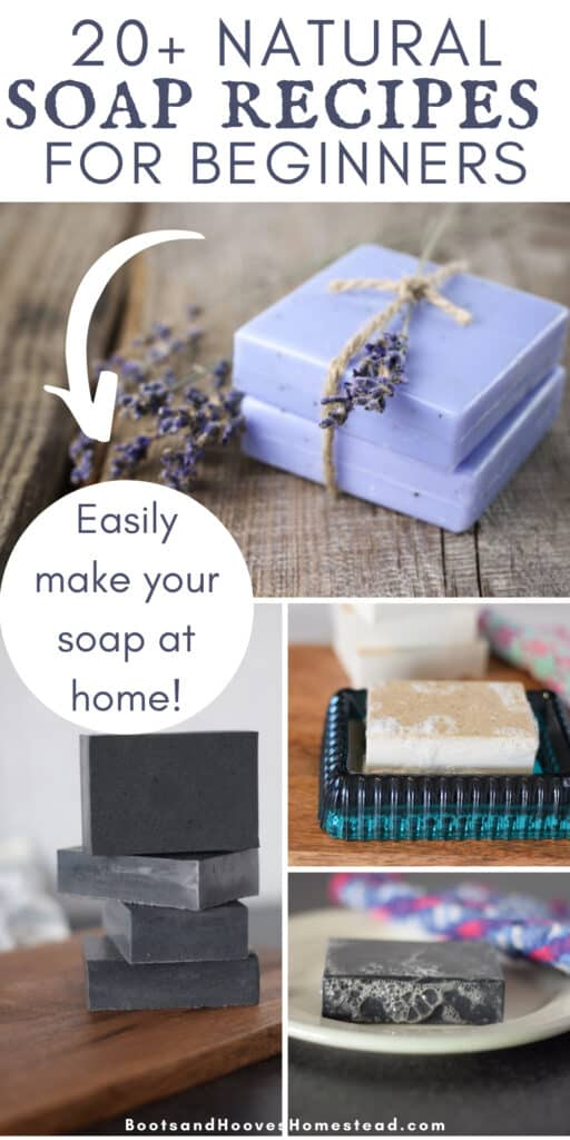 4 image photo collage of homemade soap bar recipes