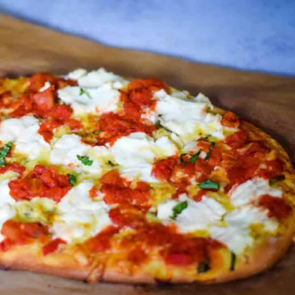 ricotta pizza fresh out of the oven