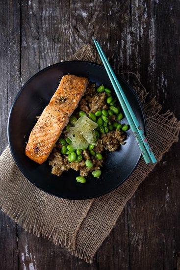 Edamame Brown Rice Bowl with Salmon