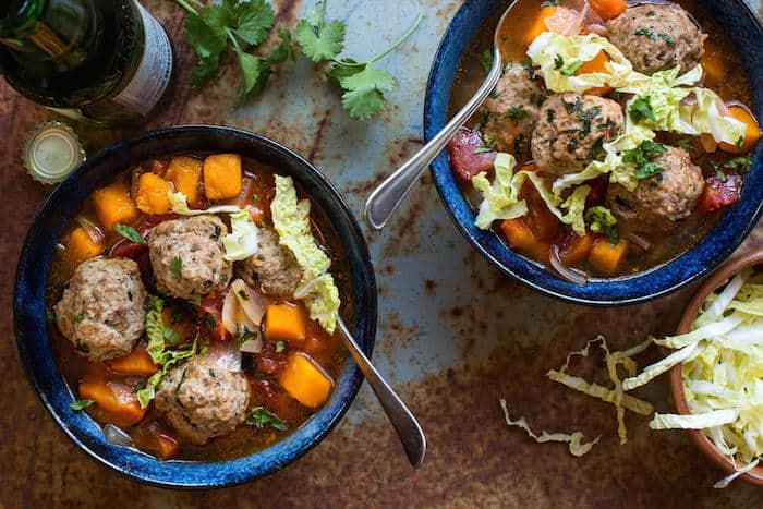 Mexican Meatball Soup with Butternut Squash!