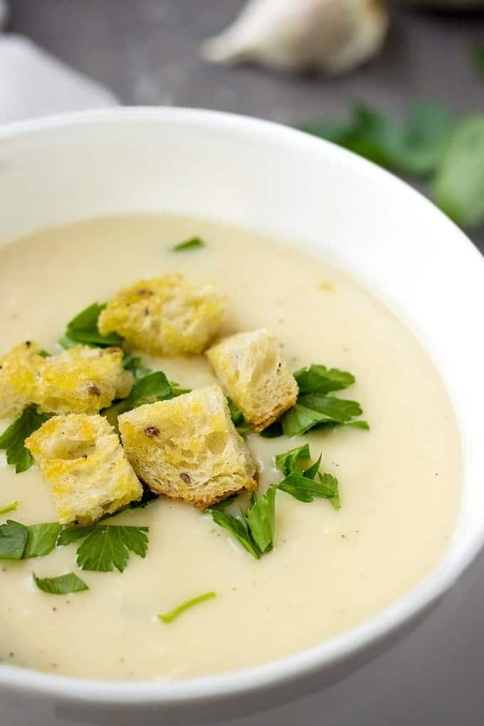 Austrian Garlic Soup With Croutons