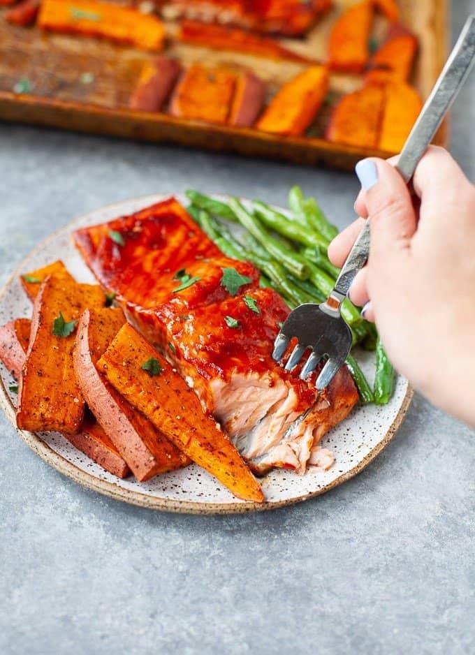 Sheet Pan BBQ Salmon Dinner