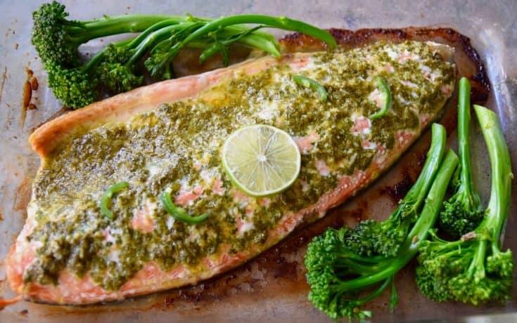 Spicy Cilantro Lime Baked Salmon