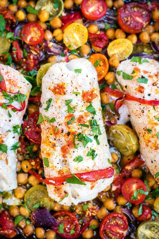 One-pan Cod with Chorizo and Chickpeas