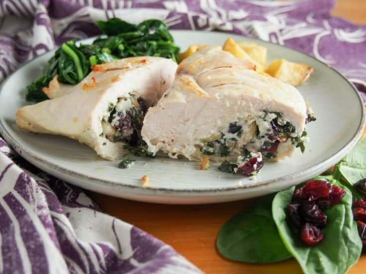 Goat cheese stuffed chicken with spinach and cranberries