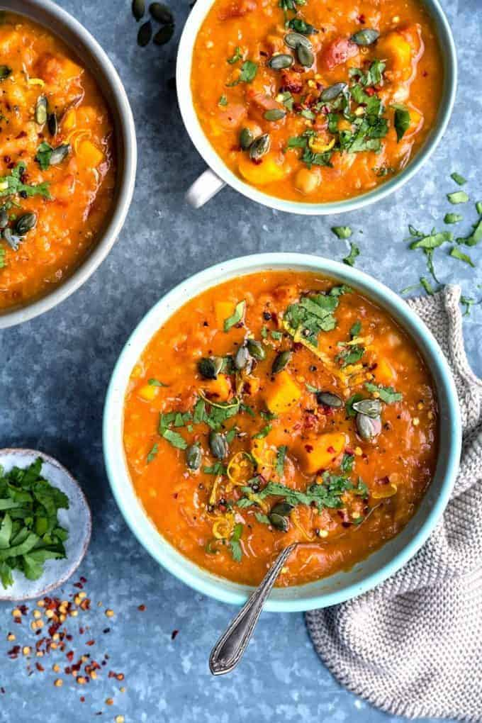 Sweet Potato, Chickpea and Red Lentil Soup