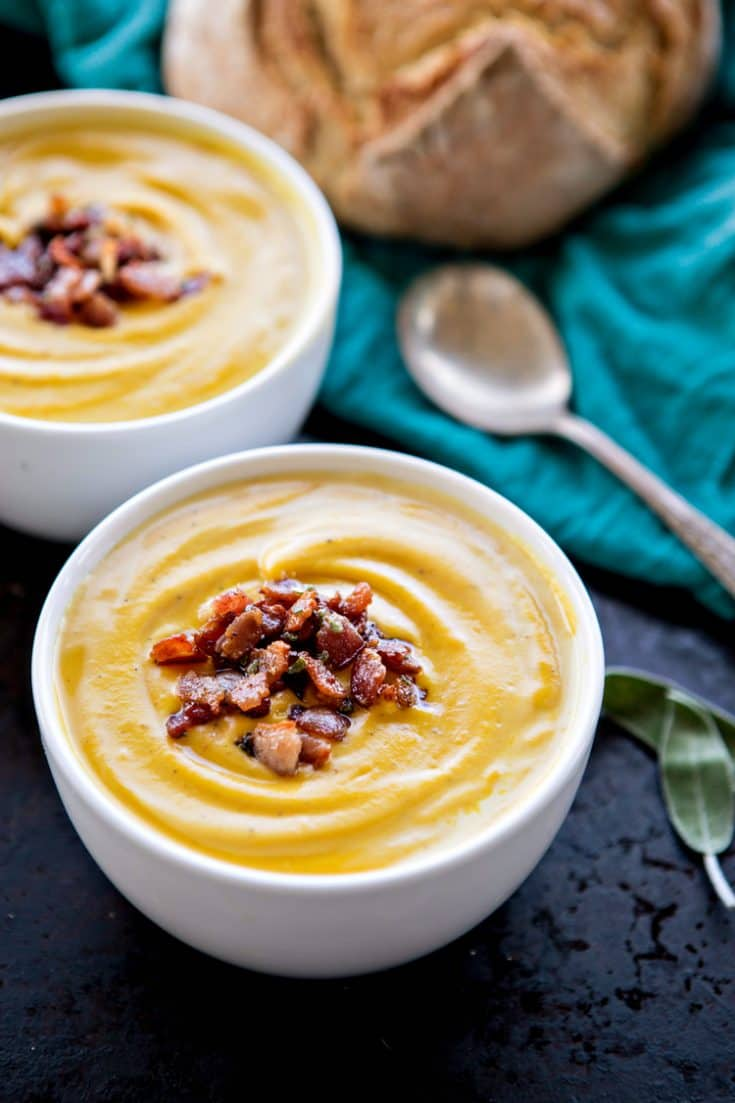 Roasted Butternut Squash Soup with Bacon and Sage