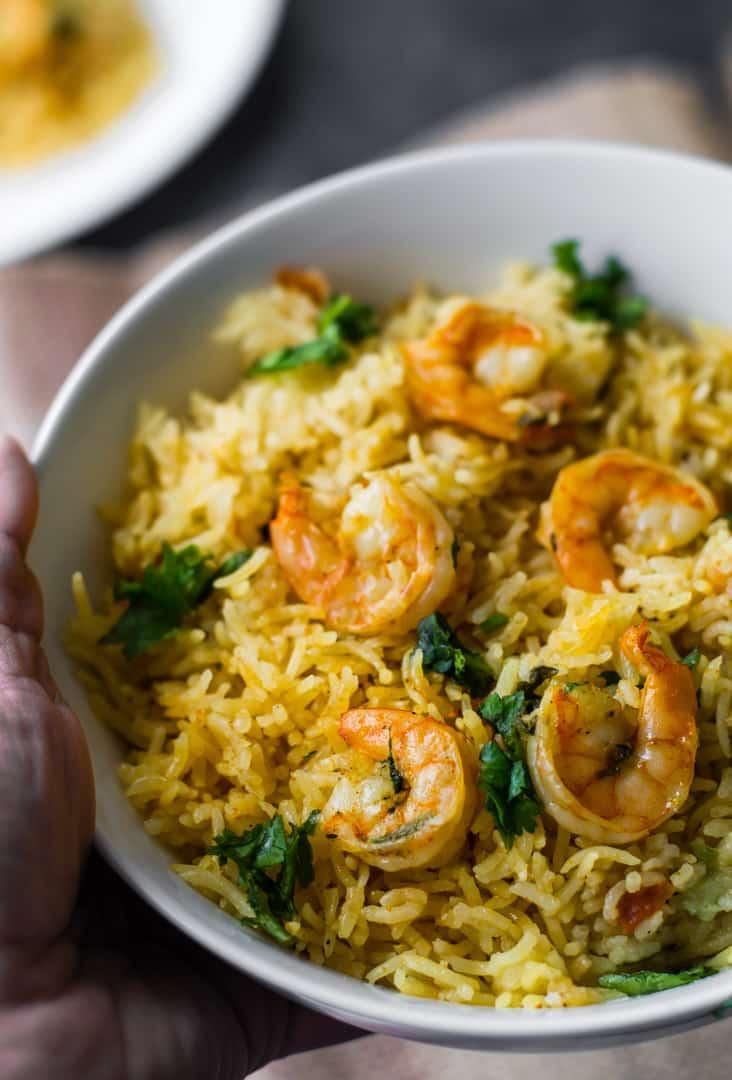 Shrimp/prawns biryani (Instant Pot / Stovetop version)