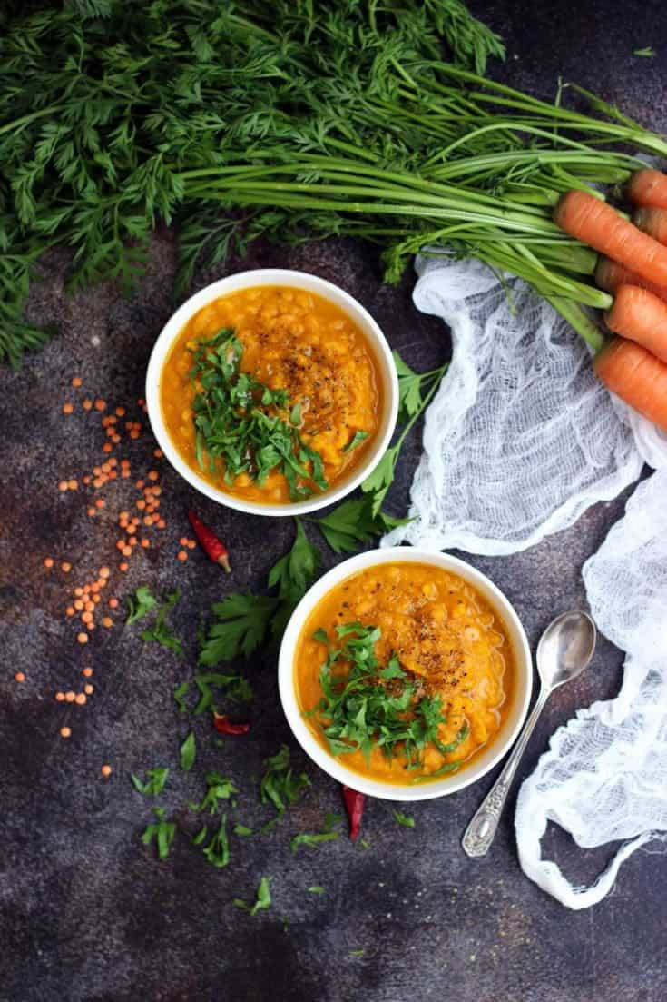 Vegan Roasted Carrot Soup with Lentils
