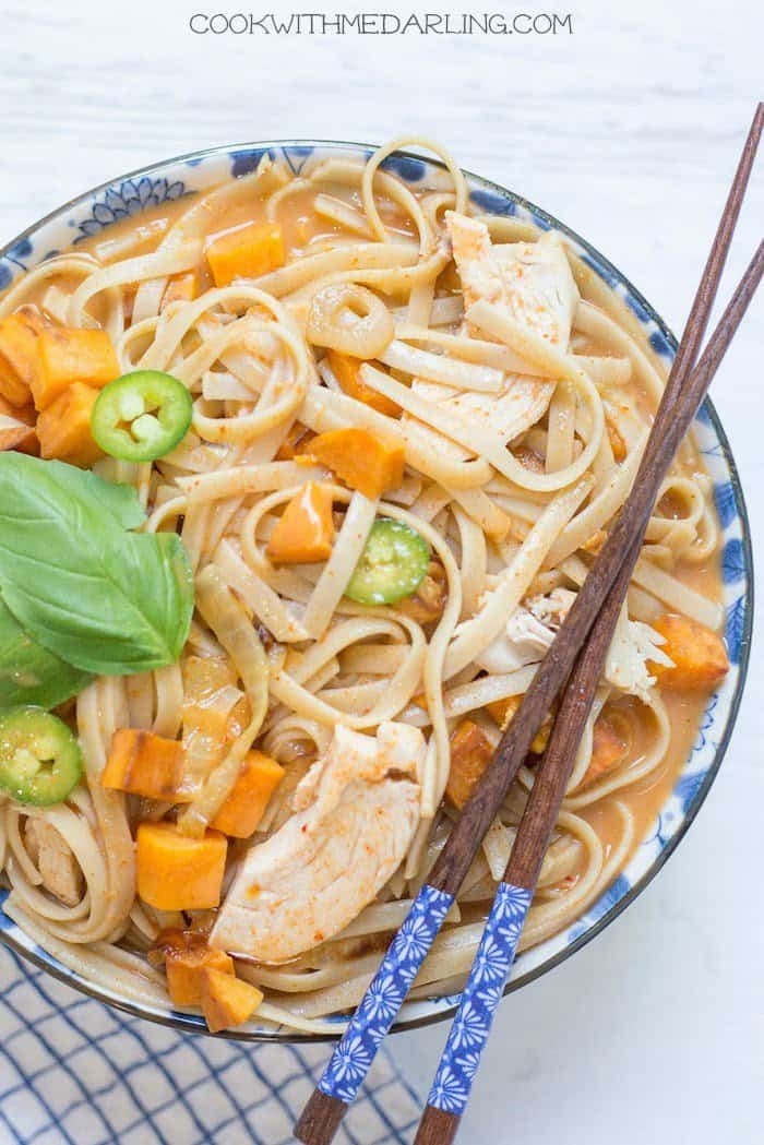 Asian Chicken Noodle Soup with Sweet Potatoes