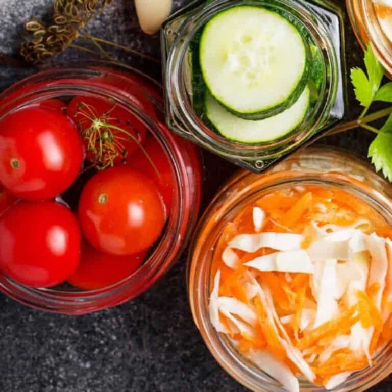 canning jars filled with vegetables