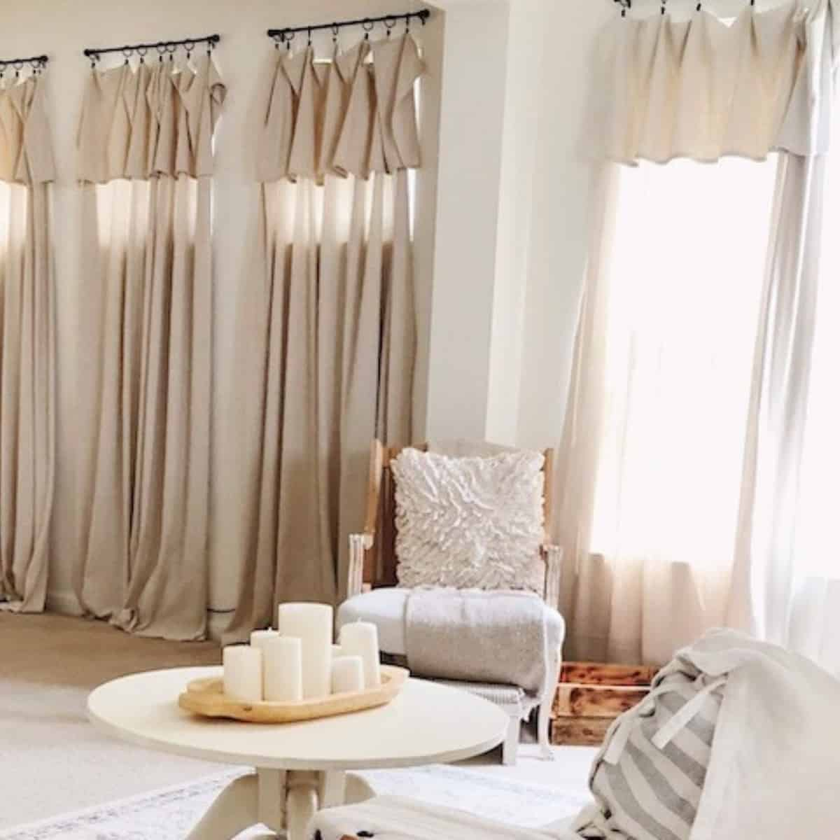 Farmhouse Inspired No Sew Drop Cloth Curtains Boots Hooves Homestead