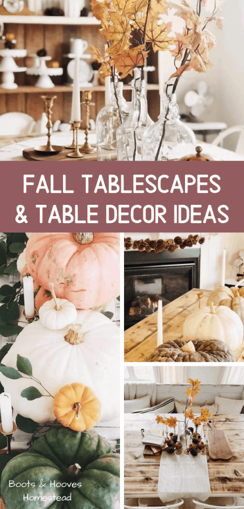 photo collage with images of fall table decorations