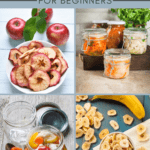 photo collage of food preservation - dried apples and bananas, canning sauerkraut and tomatoes