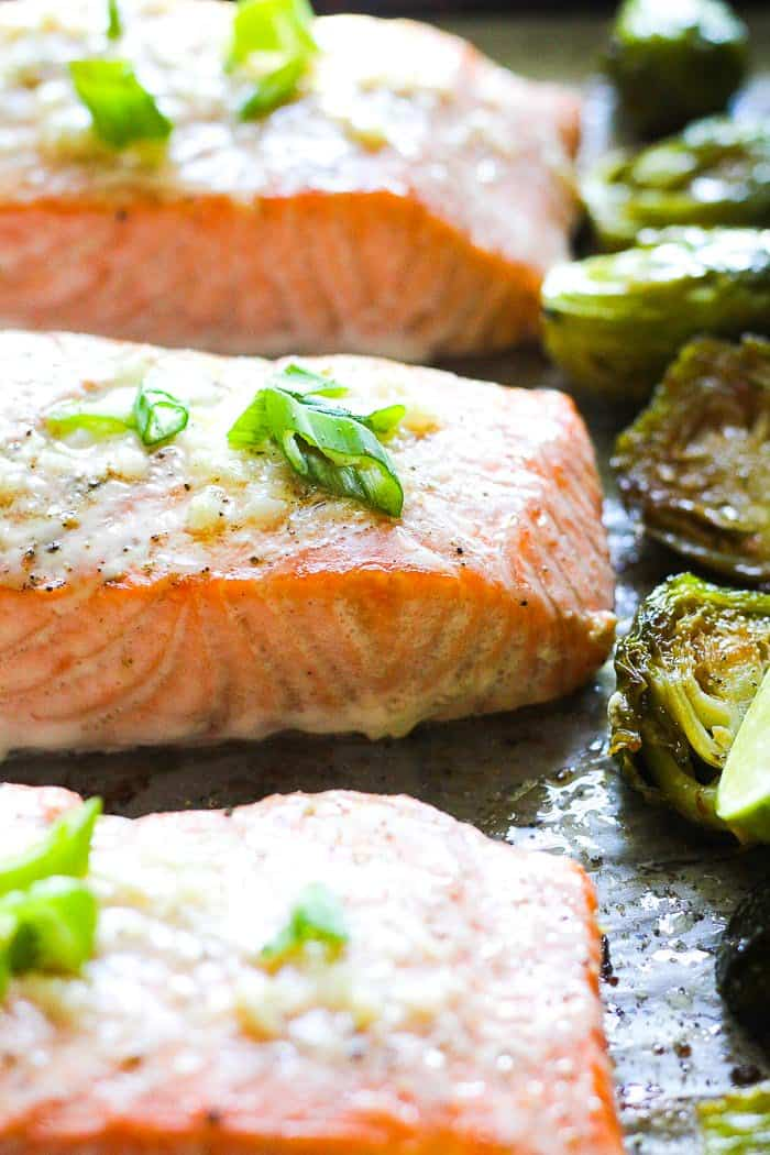 Keto baked salmon with garlic butter
