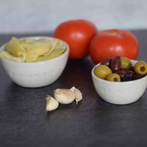 ingredients for the frittata in bowls