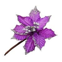 Riverbyland 6 Pcs Purple Poinsettia Flower Christmas Tree Ornament 4
