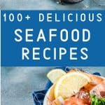 best seafood recipes on a concrete background