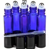 Cobalt Blue, 10 ml Glass Roll-on Bottles with Stainless Steel Roller Balls