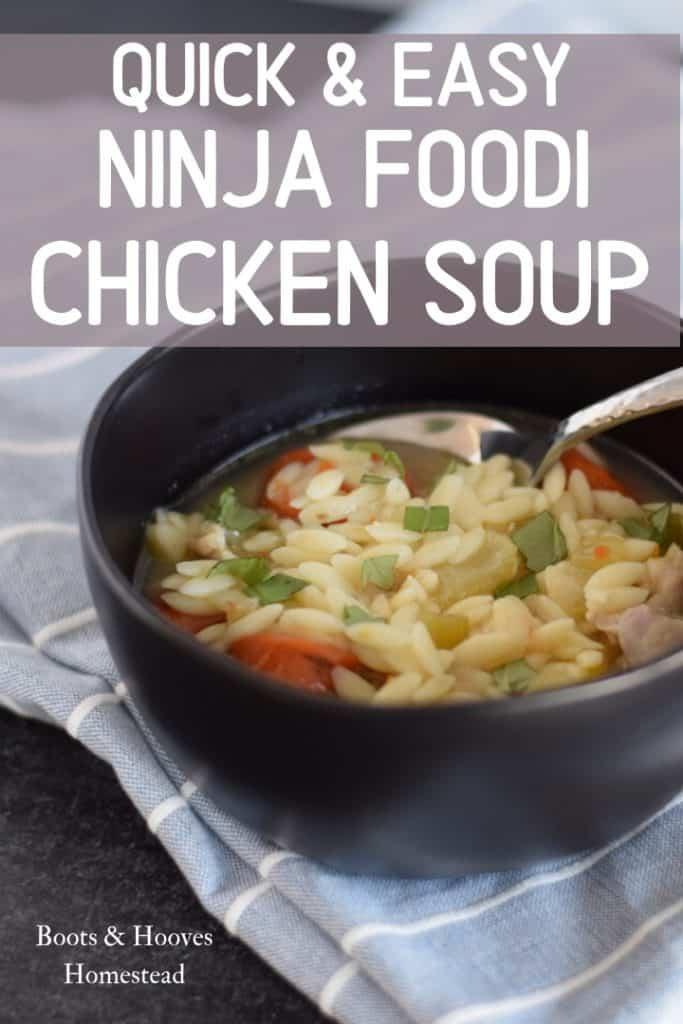 Ninja Foodi chicken soup in a black bowl with blue tea towel