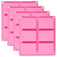 4 Pack Silicone Soap Molds - 6 Cavity Rectangle DIY Soap Molds