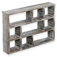 Rustic Brown Wood Freestanding Wall Mountable Shadow Box Display Shelf
