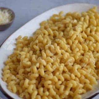 butter pasta on platter