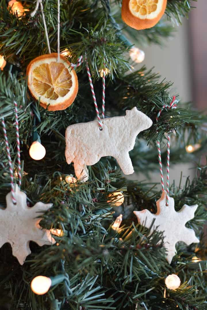 finished salt dough ornament recipe hanging on christmas tree