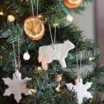 finished salt dough ornaments on Christmas tree