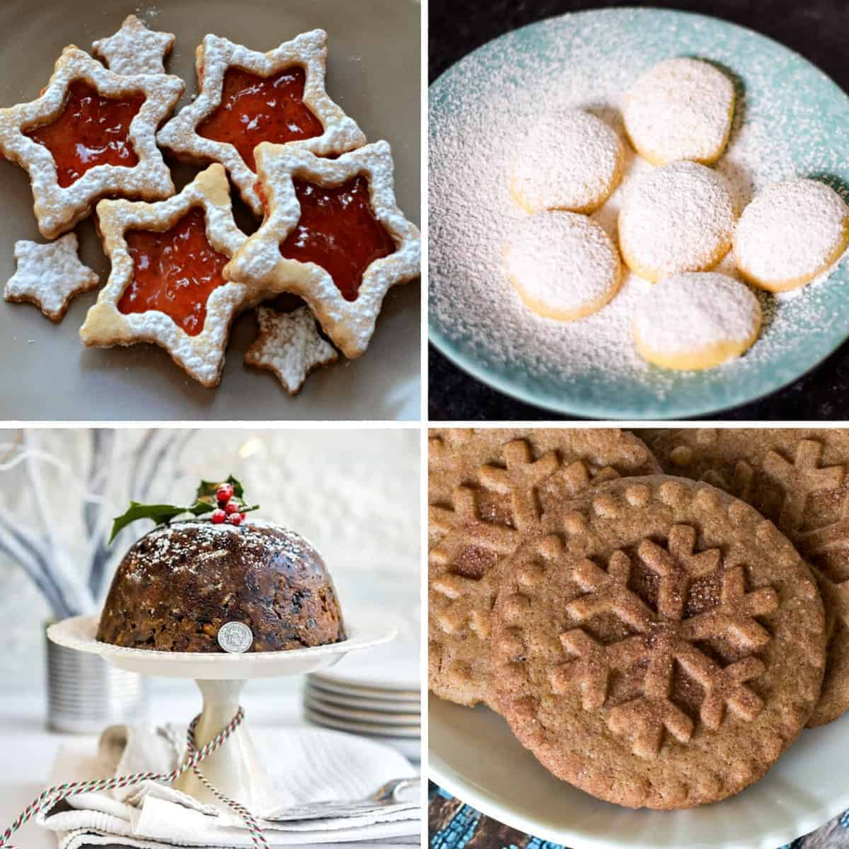 collage of christmas desserts from around the world