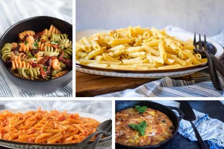 easy 30 minute dinners of pastas on platters