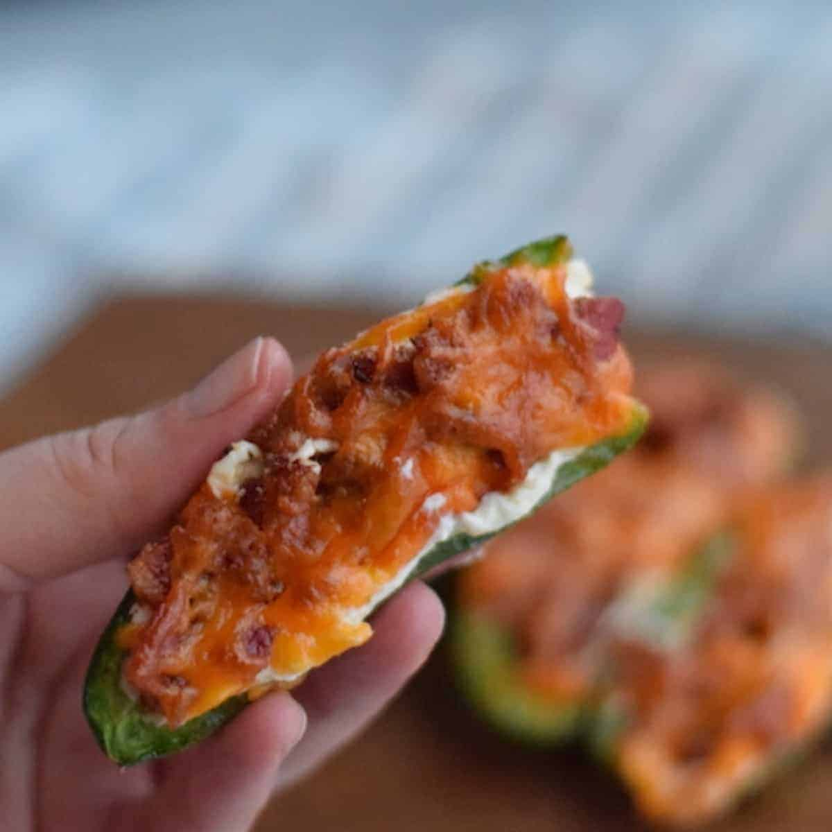 close up image of cooked jalapeno poppers