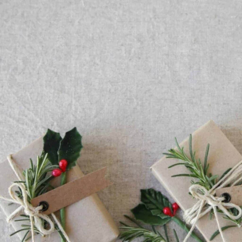 gifts wrapped with brown paper