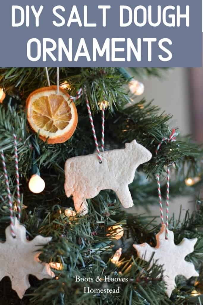 finished salt dough ornaments hanging on christmas tree