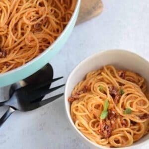 white bowl of pasta with sun dried tomato cream sauce