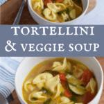 white bowl of vegetable tortellini soup