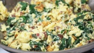 Cheesy Bacon and Spinach Scrambled Eggs
