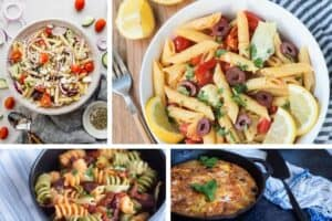 photo collage of 4 healthy mediterranean recipes
