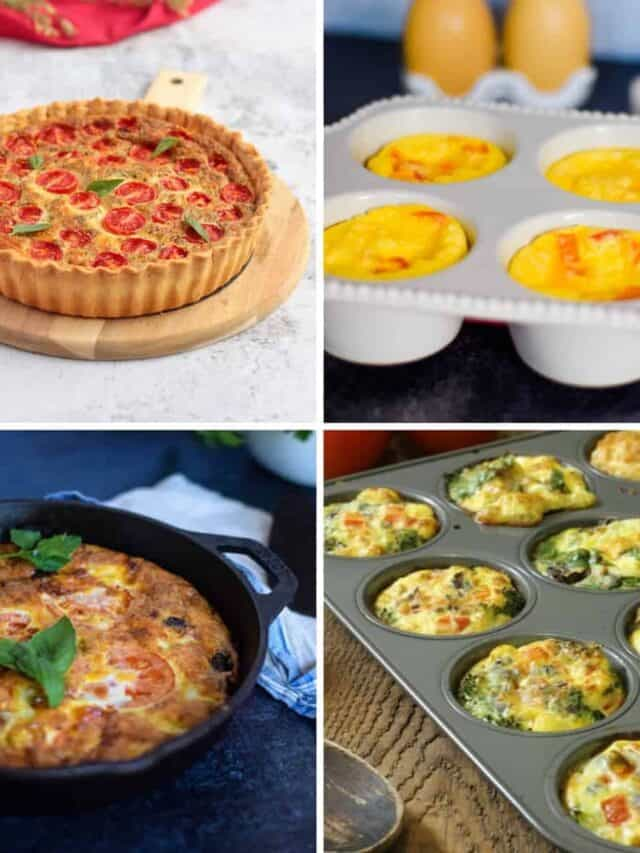 photo collage of healthy egg recipes