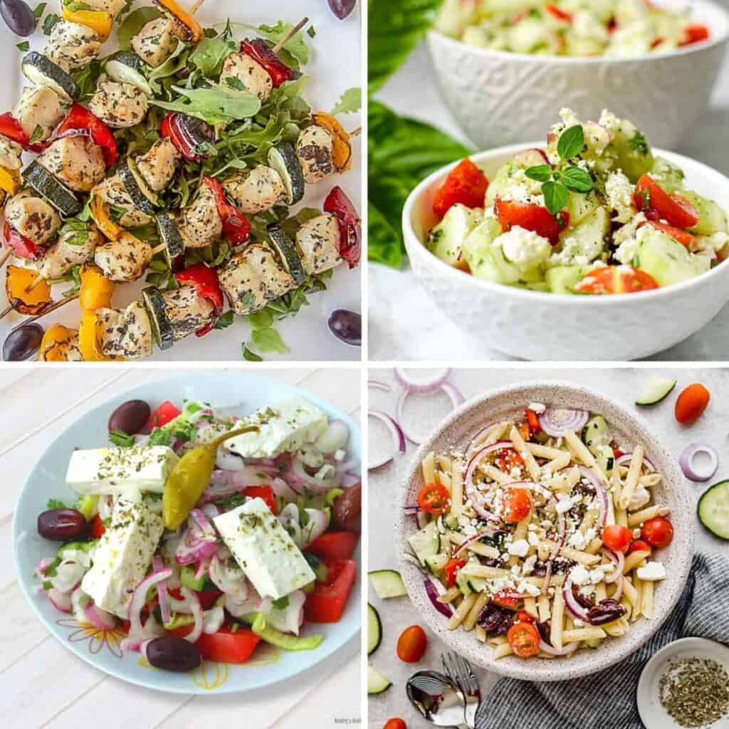 collage of healthy Mediterranean recipes