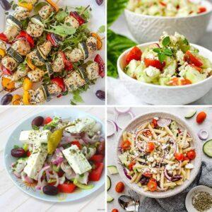 collage of healthy Mediterranean recipes
