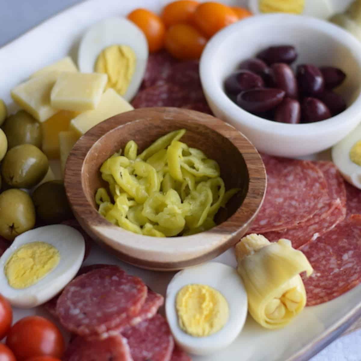 antipasto platter on a white tray