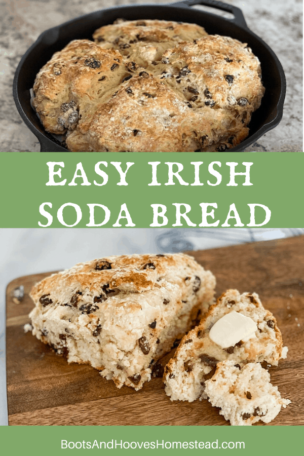 slice of Irish soda bread and a cast iron skillet