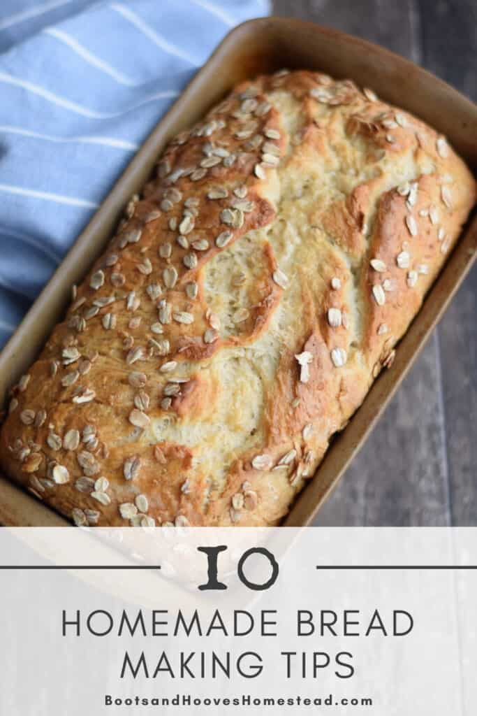"two images of homemade bread with text overlay that reads: ""10 homemade bread making tips"" for beginners"