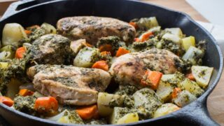 Cast Iron Chicken With Mint Chutney - Full Meal With Vegetables!